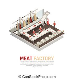 Meat Factory Isometric Composition