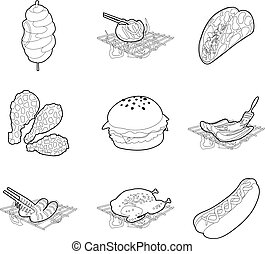 Meat food icon set, outline style