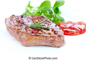 Meat. Grilled Beef Steak Isolated on White