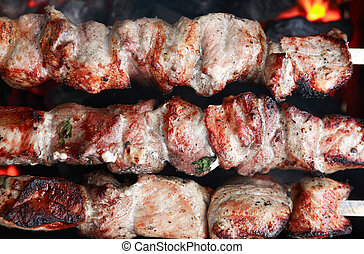 Meat Grilled On Fire