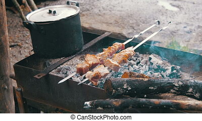 Meat Grilled on Skewers. Cooking Shish Kebab - The shish...