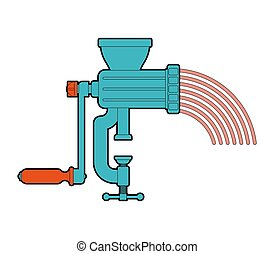 Meat grinder and minced meat. hasher and Stuffing cartoon. mincer vector illustration