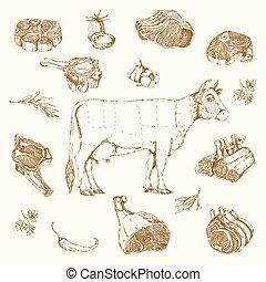 Meat Hand Drawn Elements Set