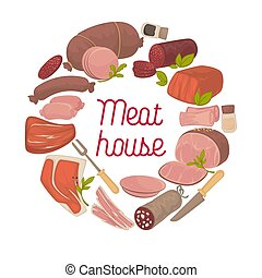 Meat house delicatessen vector poster - Meat house poster of...