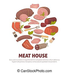 Meat house poster of vector meat and sausages delicatessen ...