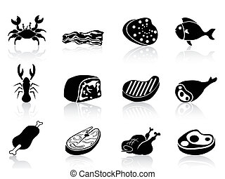 meat icons set - isolated meat icons set on white background