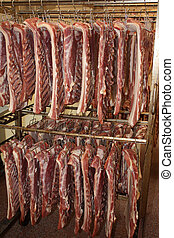 Meat in production proces in a cold cut factory