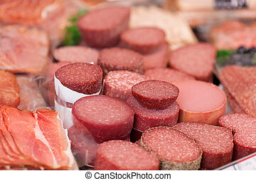 Meat In Refrigerated Section Of Supermarket