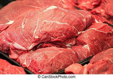 meat in supermarket