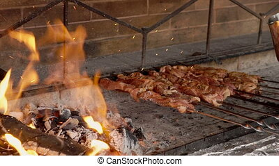 Meat is cooked on skewer over coals outdoors.