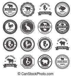 Meat labels set - Retro meat black label set with natural...