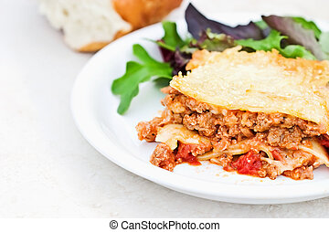 Meat Lasagna and Salad - Meat lasagna with herb and mint...