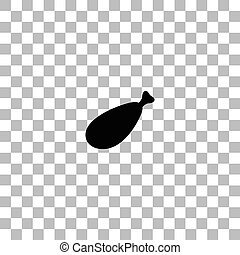 Meat leg icon flat