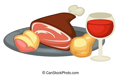 Meat leg pear and red wine Renaissance traditional food and...
