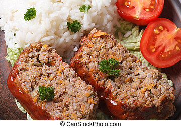 meat loaf with rice and vegetables macro horizontal top view