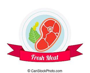 Meat logo, label for menu, restaurants, butchery shops. Flat style.