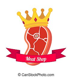 Meat logo, label for menu, restaurants, butchery shops. Flat style.