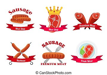 Meat logos, labels. Fresh meat, sausages, pork in flat style.