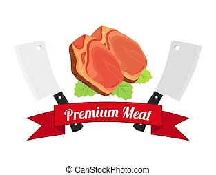 Meat logos, labels. Fresh meat, pork in flat style.