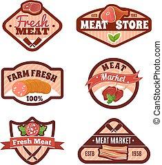 Meat Market Emblems Set