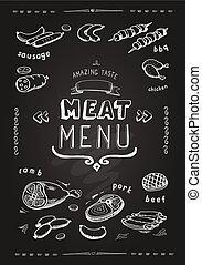 Meat menu. beef, pork, chicken, lamb symbols, . Vector Illustration