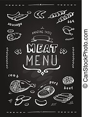 Meat menu. beef, pork, chicken, lamb symbols, . Vector Illustration