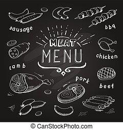 Meat menu on chalkboard. Set of meat symbols, beef, pork, chicken, lamb. Vector Illustration