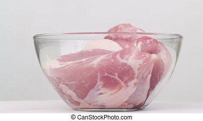 Meat of glass platter - A large piece of meat in a glass...