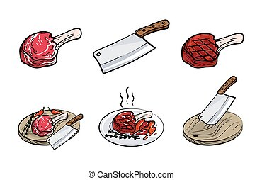meat on bone, knife and spices. set of vector sketches on white background
