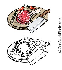 meat on bone, knife and spices. vector illustration on white background