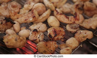 Meat on grill - Meat and vegetables char-grilled over flame