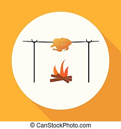 Meat on the fire icon