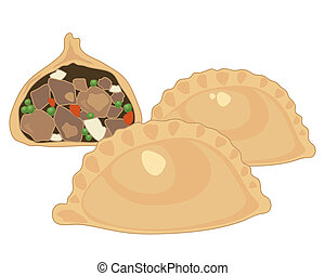 an illustration of three meat pasties two whole and one half with meat and potato filling isolated on a white background