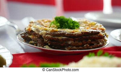 meat pie from the restaurant dinner liver video rich - meat...