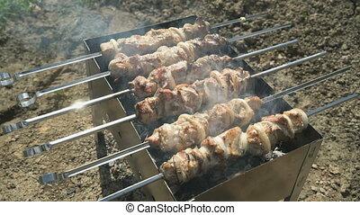 Meat prepares on metal skewers on coals outdoors - Fresh...