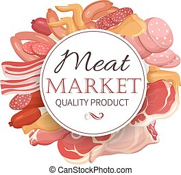 Meat products in cartoon style.