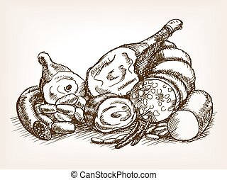 Meat products still life sketch style vector illustration....