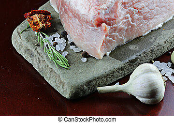 meat raw spices pepper