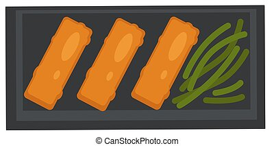 Meat rolls with asparagus served on plate vector - Cuisine ...