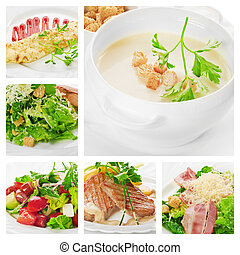 meat, salad and other food