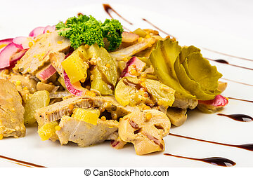 meat salad with mushrooms and pickled cucumber
