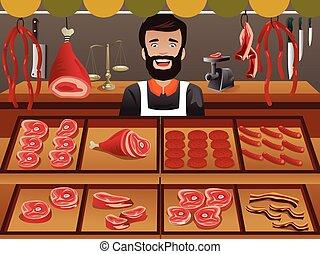 Meat seller in a farmer market - A vector illustrator of ...