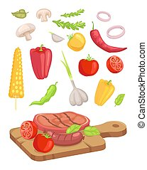 Meat Served on Board Icon Set Vector Illustration
