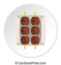 Meat shashlik icon circle - Meat shashlik icon in flat...