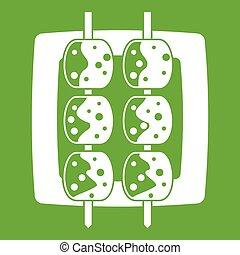 Meat shashlik icon green - Meat shashlik icon white isolated...