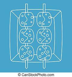 Meat shashlik icon, outline style - Meat shashlik icon blue...