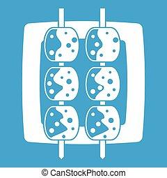 Meat shashlik icon white isolated on blue background vector...