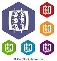 Meat shashlik icons set hexagon isolated  illustration