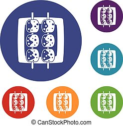 Meat shashlik icons set in flat circle red, blue and green...