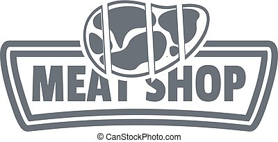 Meat shop logo, simple style